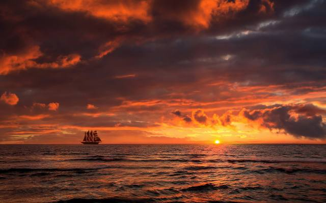 sunset, sea, clouds, sailboat