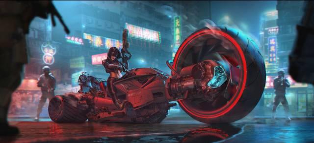 cyberpunk, Hyper Bike, Soldiers, Girl in Glasses