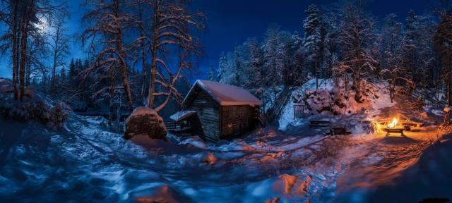 winter, snow, fire, beautiful