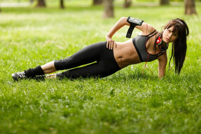 fitness, grass, headphones, belly, brown hair, training