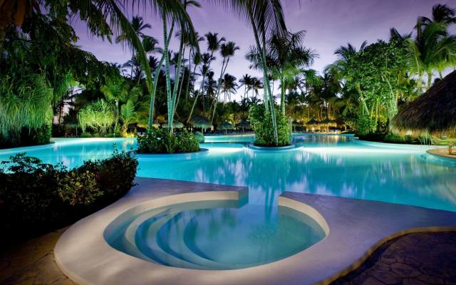 interior, pool, The hotel, tropics, palm trees