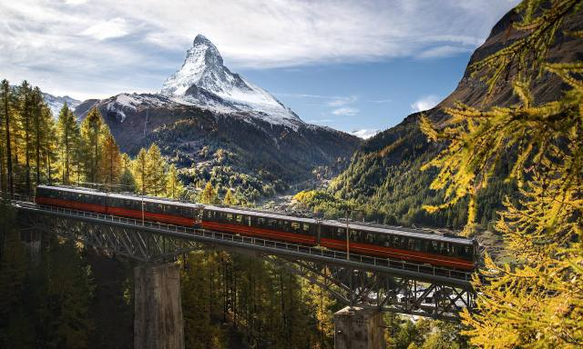 Switzerland, Zermatt, autumn, railway, the bridge, forest, mountains