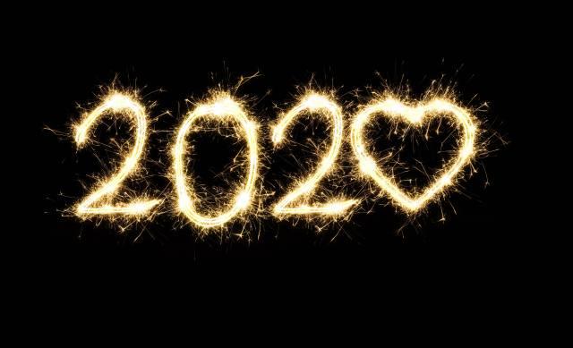 2020, Новый год, сердечко, фейерверк, фон