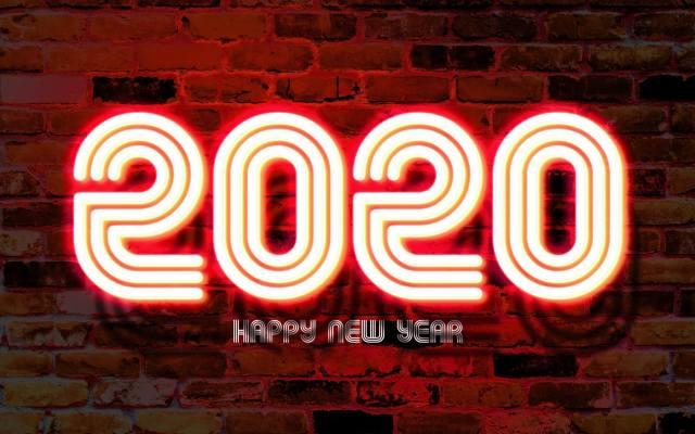 2020, Новый год, стена, Композиция