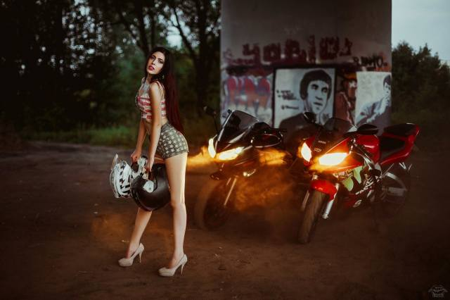 girl, motorcycle, evening