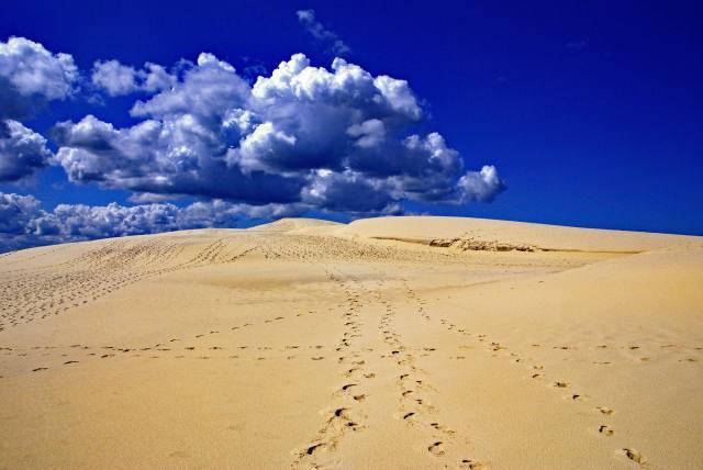 nebe, mraky, písek, poušť