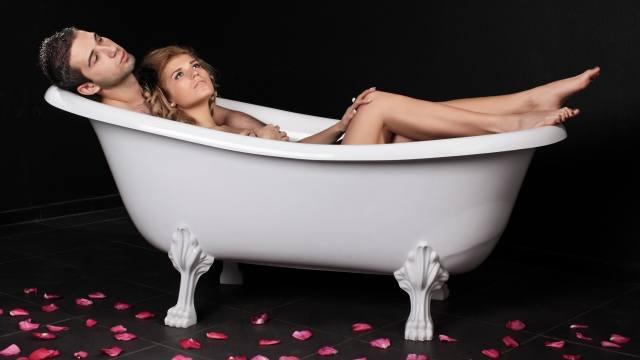 guy, girl, PAIR, lovers, tub, petals