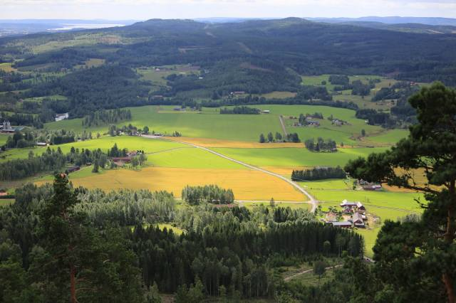 panorama, valley, деревушки, trees, landscape, Sweden
