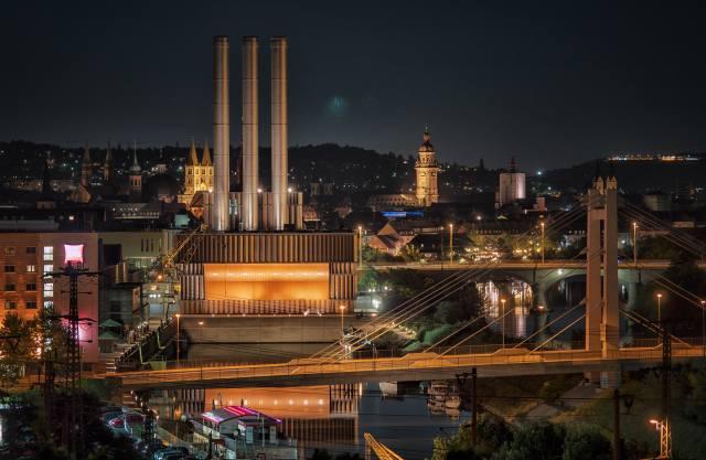 вюрцбург, Německo, panorama, noc, světla