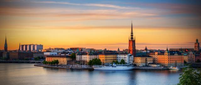 Švédsko, město, stockholm, проток, doma, budovy, věže, západ slunce