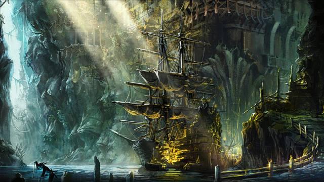 Корабль фрегат, loď, plachty, voda