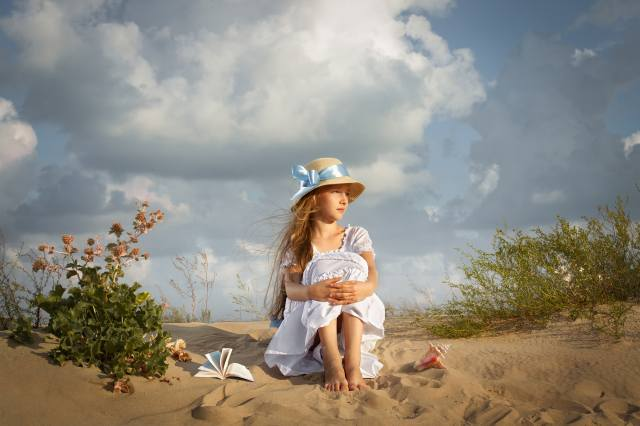 sand, the sky, clouds, vegetation, hat, dress, shell, girl, book