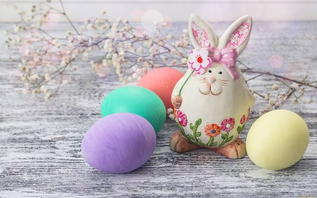 Board, branch, flowers, EGGS, eggs, figure, rabbit, hare, holiday