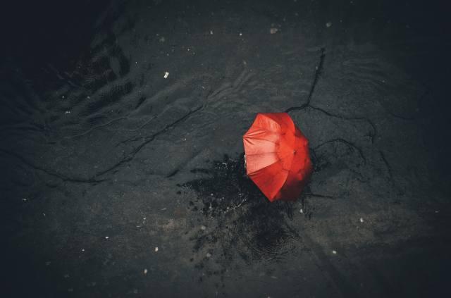 umbrella, Red, asphalt, the rain