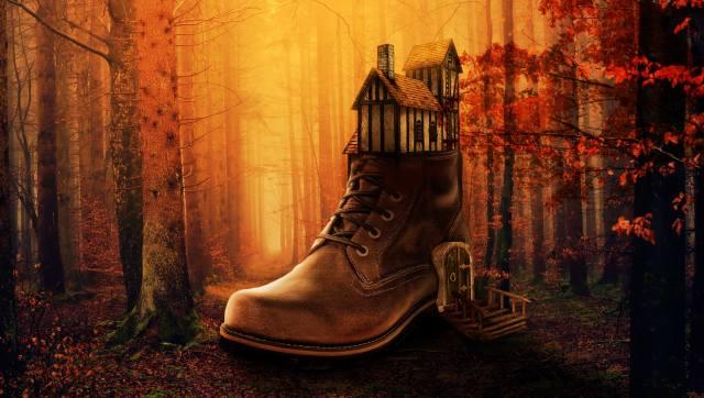 boty, domeček, les, podzim, фотоманипуляция