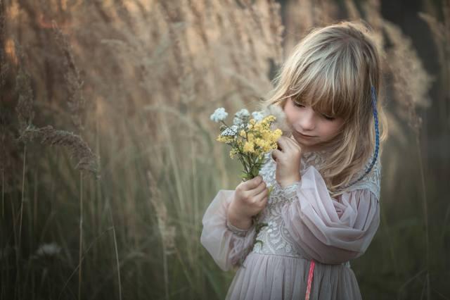 nature, dress, girl, grass, child, bouquet, Marta Obiegla