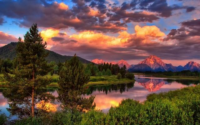 landscape, Forest, the sky, clouds, trees, mountains, nature, river, sunset