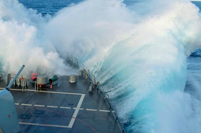 oceán, loď, bouře
