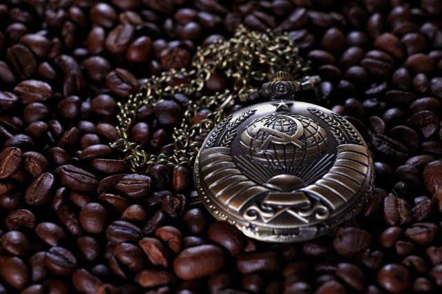 watch pocket, watch, coffee, grain, The USSR, hammer and sickle