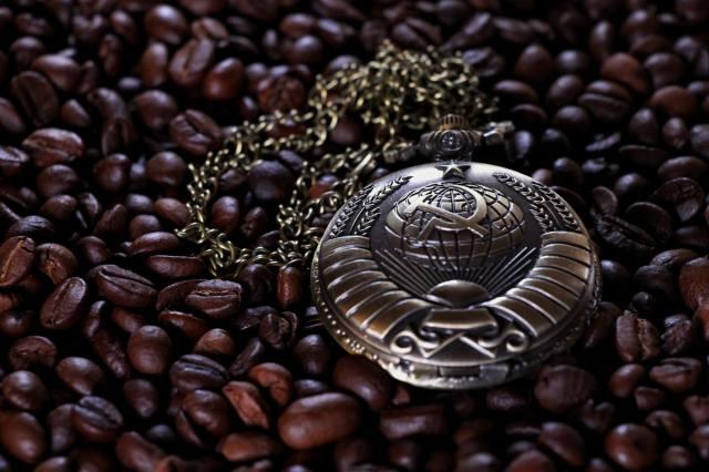 hodinky kapesní, hodinky, káva, obilí, SSSR, srp a kladivo