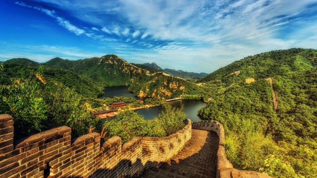 landscape, mountains, nature, river, wall, vegetation, China, the great wall of China