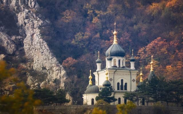 autumn, landscape, mountains, nature, the temple, Forest, Crimea, dome, red rock