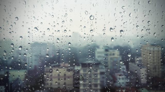 okno, sklo, déšť, kapky