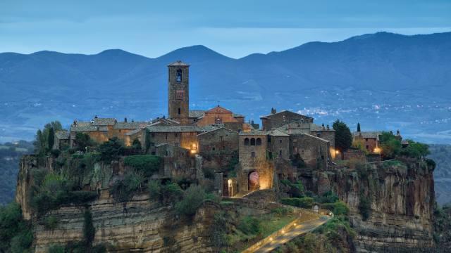 landscape, mountains, the bridge, the city, rock, home, evening, Italy, civita di bagnoregio