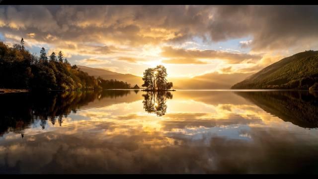небо вода, отражение природа облака