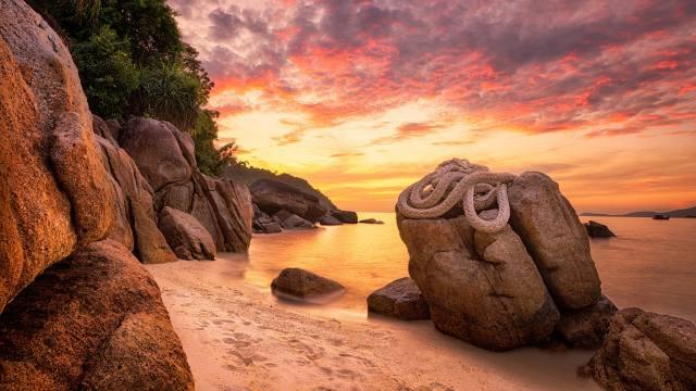 природа пляж небо облака, веревки, море