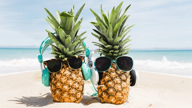 two, pineapple, glasses, the beach