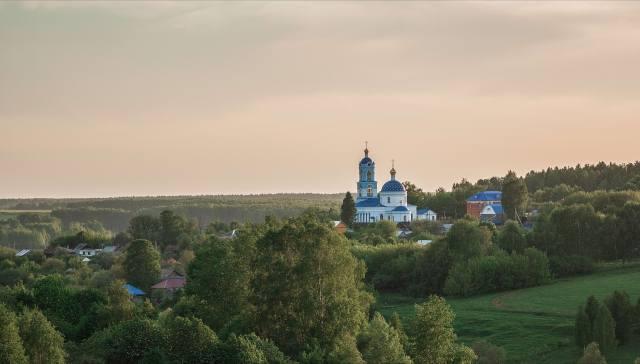 léto, krajina, příroda, vesnice, kostel, Владимир Васильев