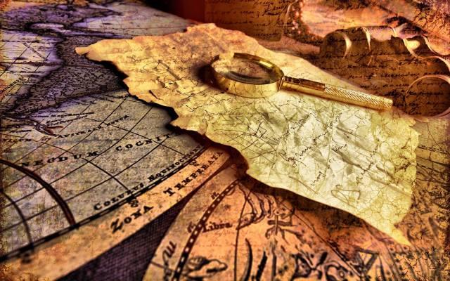 map, magnifier