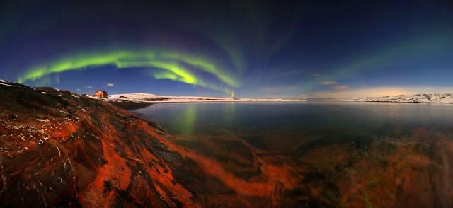 sea, the sky, landscape, nature, Strait, the house, stones, shore, stars