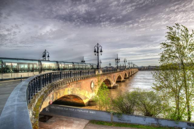 France, the bridge, river, train, Bordeaux, Garonne river, Уличные фонари, the fence, HDR