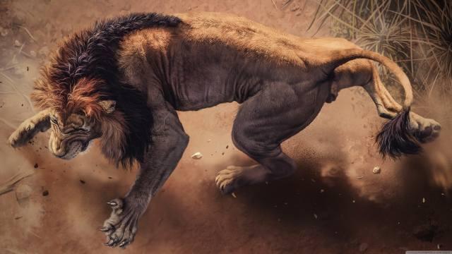 лев, сердитый, лапы