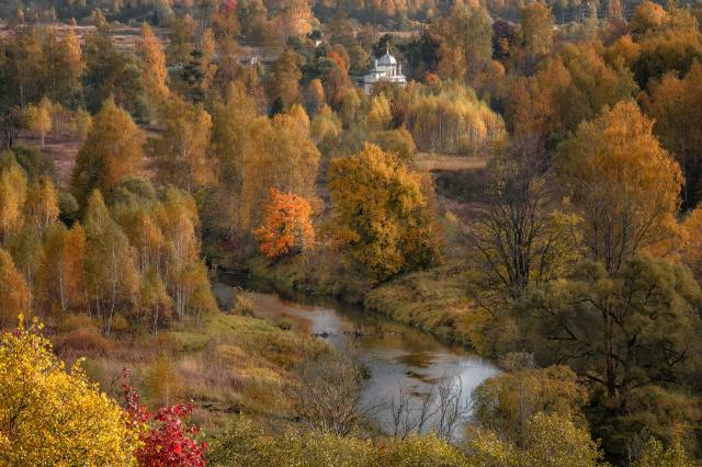 autumn, trees, landscape, nature, river, valley, the Church, The BUSHES, Истра