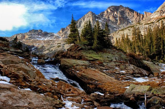 деревья, пейзаж, горы, природа, водопад, ели, Йосемити, Национальный парк, заповедник