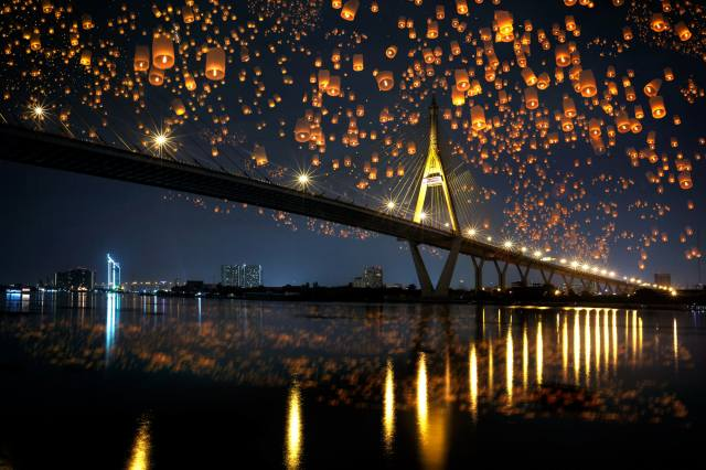 the city, the bridge, reflection, river, shore, building, lighting, Thailand, lanterns