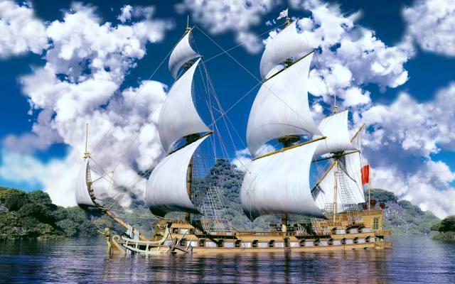 mraky, plachetnice, moře