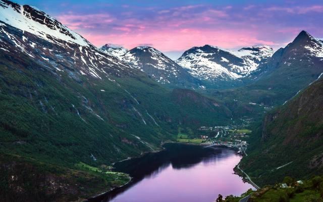 горы, пейзаж, река, snow on the mountains