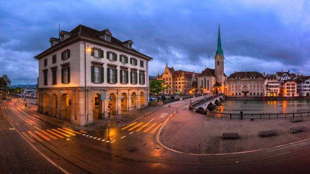 road, the city, river, building, home, evening, Switzerland, lighting, area