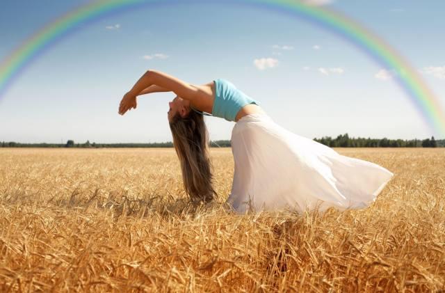 wheat, field, girl, rainbow
