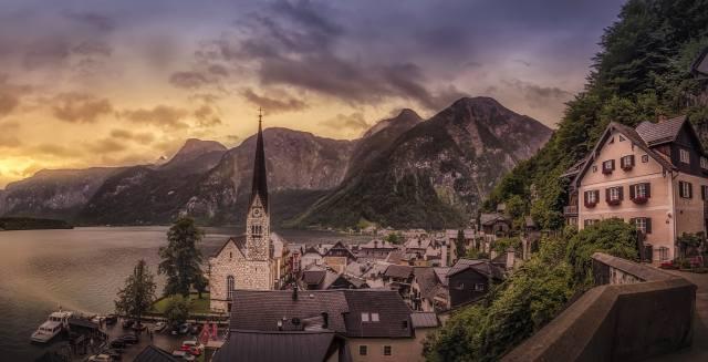 Халльштатт, Austria, mountains, home, the lake, the city