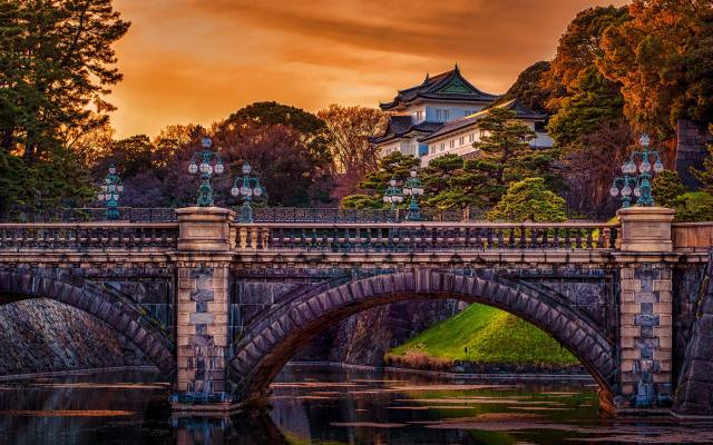 Edo Castle, 4K, Tokyo Imperial Palace, autumn, japanese palaces, tokyo, japan, asia