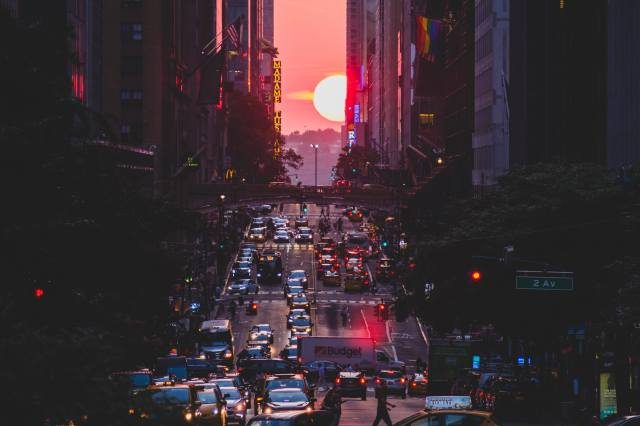 the city, street, sunset