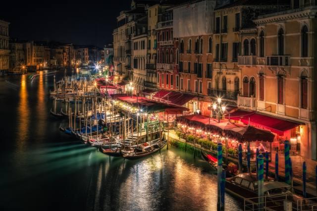 Venice, night, lights, river, boats, Italy
