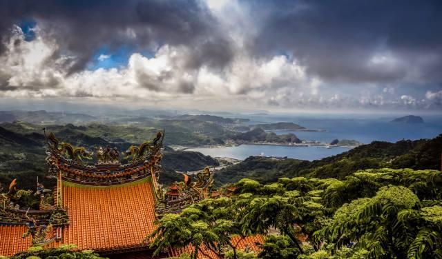 moře, mraky, krajina, hory, příroda, kopce, vegetace, střechy, Tchaj-wan