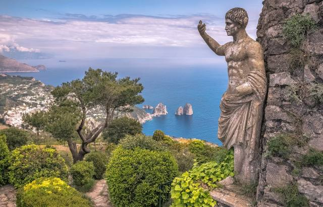 sea, clouds, landscape, nature, rock, vegetation, island, Italy, Statue