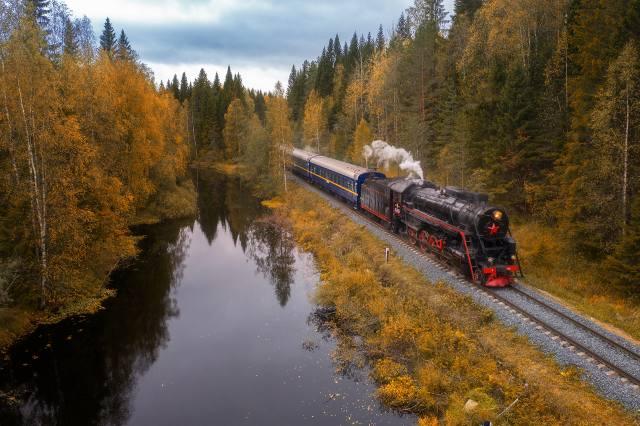 осень, лес, пейзаж, природа, парк, рельсы, поезд, железная дорога, карелия
